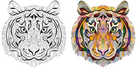 Head of tiger styled for t-shirt design, tattoo and other decorations