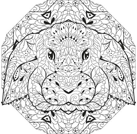 Decorative Rabbit, Easter Bunny with mandala. Hare. Vector illustration. This illustration can be used as a greeting card or as a print on T-shirts and bags.