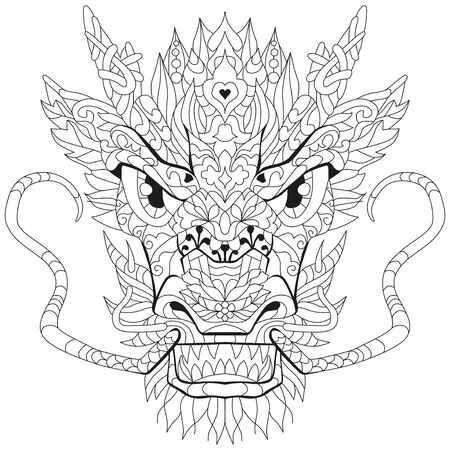 Head of dragon styled for t-shirt design, for coloring, tattoo and other decorations