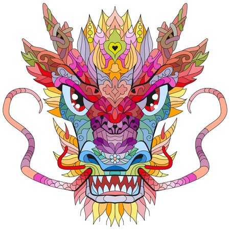 Head of dragon styled for t-shirt design, tattoo and other decorations Ilustrace