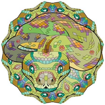 Hand drawn snake with mandala for t-shirt and other decorations Vettoriali
