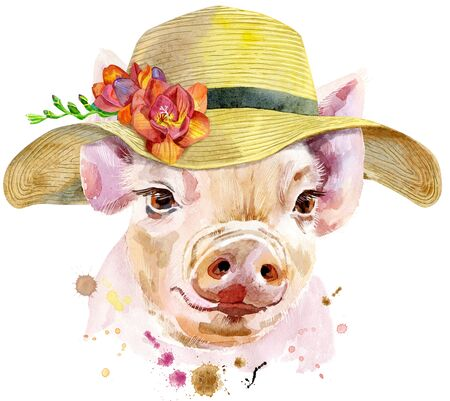 Cute piggy with summer hat. Pig for T-shirt graphics. Watercolor pink mini pig illustration Reklamní fotografie