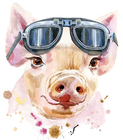 Cute piggy in biker glasses. Pig for T-shirt graphics. Watercolor pink mini pig illustration