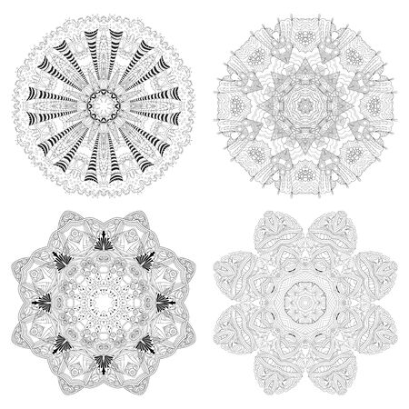 Vector Adult Coloring Book Textures. Hand-painted art design. Adult anti-stress coloring page. Black and white hand drawn illustration set of 4 mandalas for coloring book.