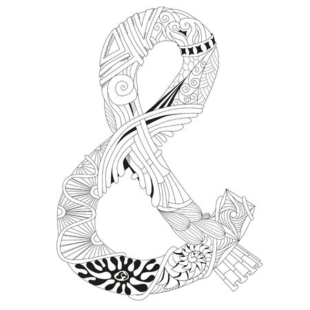 Vector Adult Coloring Book Textures. Hand-painted art design. Adult anti-stress coloring page. Black and white hand drawn ampersand for coloring book.