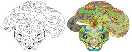 Hand drawn snake for t-shirt and other decorations. Color and outline set