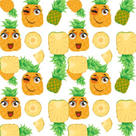 Seamless pattern exotic fruit pineapple. Funny cute faces character Çizim