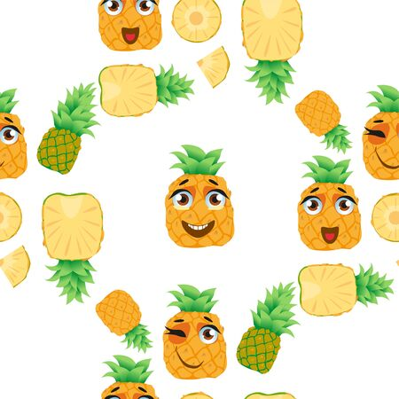 Seamless pattern exotic fruit pineapple. Funny cute faces character Ilustrace