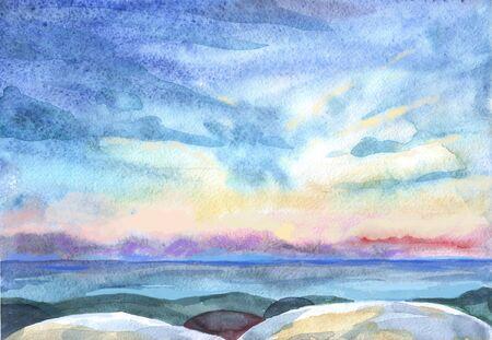 Watercolor seascape for wallpaper design. Colorful wallpaper. Background illustration.