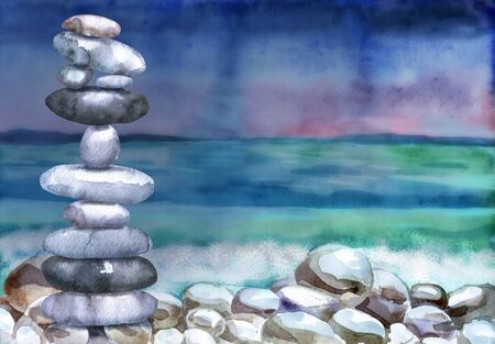 Watercolor seascape stack of flat pebbles for wallpaper design. Colorful wallpaper. Background illustration. 写真素材