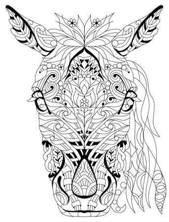 Head of horse styled for t-shirt design, for coloring, tattoo and other decorations Ilustración de vector