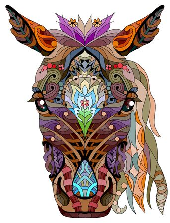 horse head. Hand drawn decorative vector illustration.