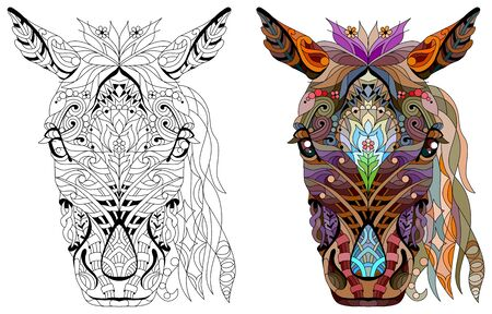 horse head with mandala. Hand drawn decorative vector illustration for coloring Vectores