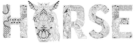 Hand-painted art design. Hand drawn illustration word horse for coloring, t-shirt and other decoration