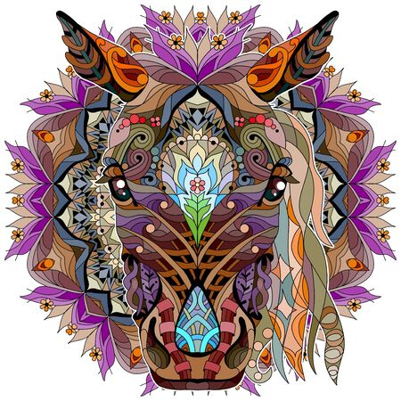 Head of horse styled with mandala for t-shirt design, for tattoo and other decorations