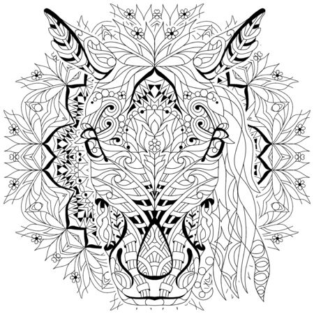 Head of horse styled with mandala for t-shirt design, for coloring, tattoo and other decorations