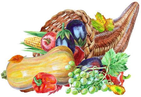 Handgezeichnetes Aquarell Füllhorn mit Herbsternte, Kürbis, Sonnenblume, Apfel und Pfeffer. Lebensmittelillustration lokalisiert auf weißem Hintergrund. Standard-Bild