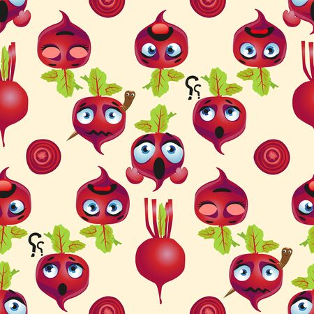 Seamless pattern beetroot. Funny cute faces character