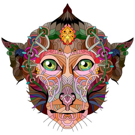 Head of monkey with mandala zentangle styled for t-shirt design, tattoo and other decorations