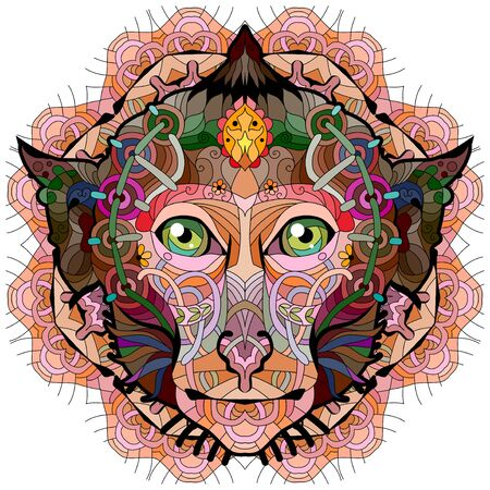 Head of monkey with mandala styled for t-shirt design, tattoo and other decorations Vetores
