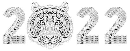 Hand drawn tiger number 2022 for coloring, for t-shirt and other decorations