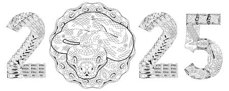 Hand drawn snake number 2025 for coloring, for t-shirt and other decorations