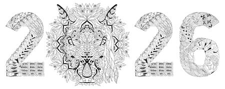 Hand drawn horse number 2026 for coloring, for t-shirt and other decorations