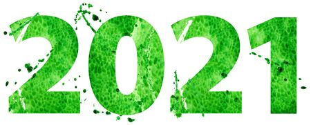 New year 2021 watercolor number isolated on the white background