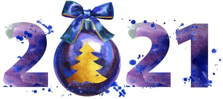 New year 2021 watercolor number with Christmas decorations isolated on the white background
