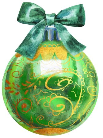 Watercolor Christmas green ball with bow isolated on a white background.