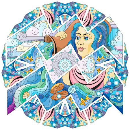 Aquarius zodiac sign with mandala cute cartoon character retro stylized in vector