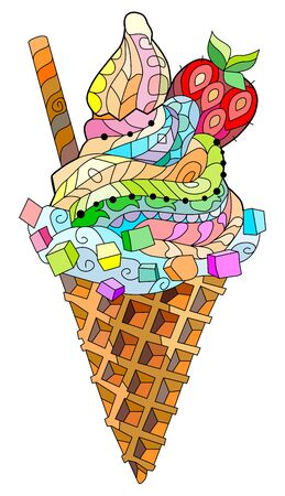 Ice cream. Floral, ornate, decorative, sweet dessert composition Color on white background 向量圖像