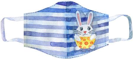 Striped hygiene mask with rabbit sticker on white background, Prevent Coronavirus, protection factor for virus.