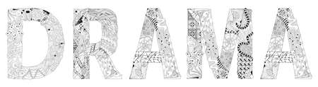 Word Drama. Vector object for coloring Stock Illustratie