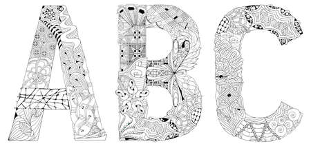 Hand-painted art design. Letters A, B, C objects for coloring