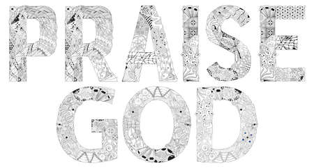 Words PRAISE GOD. Vector object for coloring
