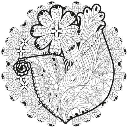 Flower with clean lines with mandala for coloring book for anti stress, t-shirt design, tattoo and other decorations  イラスト・ベクター素材