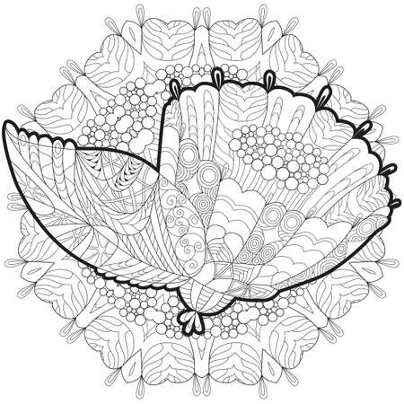 stylized flower with mandala. Hand Drawn lace vector illustration