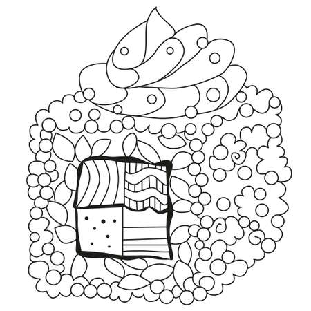 Sushi. Hand drawn decorative vector illustration for coloring