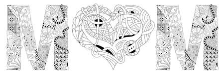 Word mom with shape of heart. Vector decorative  object for coloring