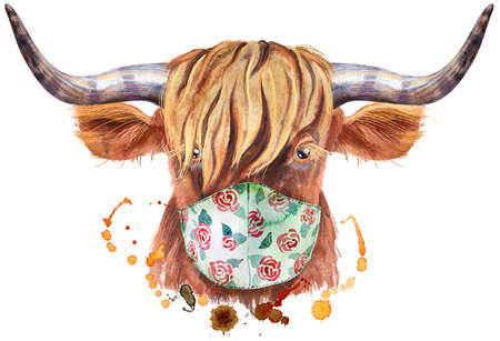 Watercolor illustration of a brown long-horned bull in protective mask