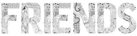 Hand-painted art design. Hand drawn illustration word FRIENDS for coloring, t-shirt and other decoration Vettoriali