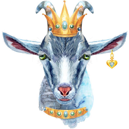 Goat head character isolated on white background. Goat with golden crown watercolor illustration. Archivio Fotografico