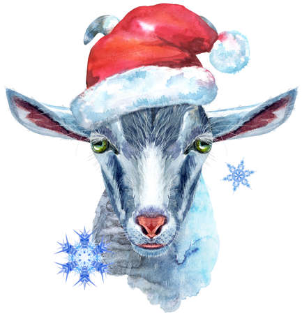 Goat head in Santa hat isolated on white background. Goat watercolor illustration.