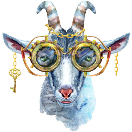 Goat character with steampunk glasses isolated on white background. Goat watercolor illustration.