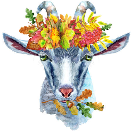 Goat head character in wreath of autumn leaves isolated on white background. Goat watercolor illustration.