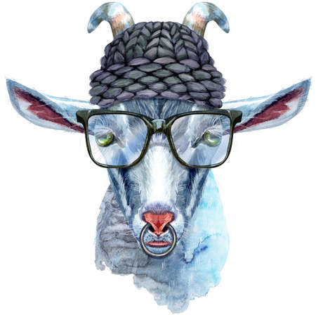 Goat head with glasses and black hat isolated on white background. Goat watercolor illustration.