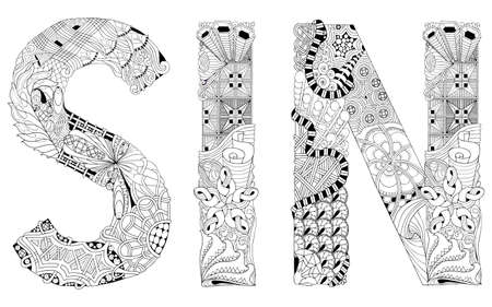 Hand-painted art design. Hand drawn illustration word SIN for coloring, t-shirt and other decoration Vettoriali