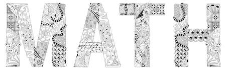 Hand-painted art design. Hand drawn illustration word Math for coloring, for t-shirt and other decoration
