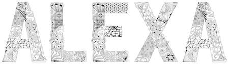 Female name Alexa. Vector decorative object for coloring